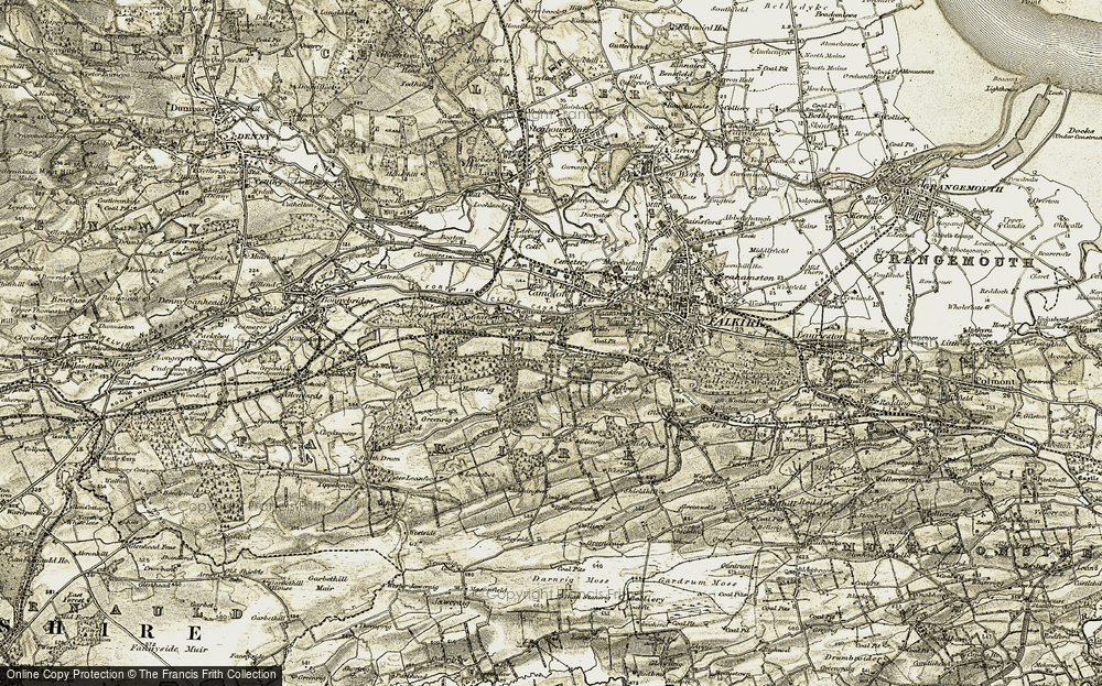 Old Map of Historic Map covering Auchengean in 1904-1907