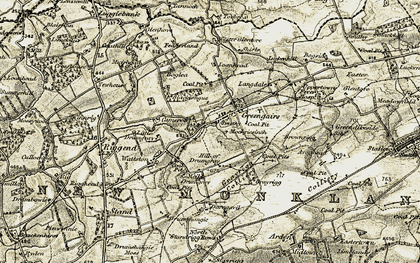 Old map of Langdales in 1904-1905