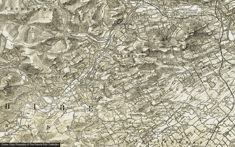Old Map of Historic Map covering Whitlaw Mosses National Nature Reserve in 1904