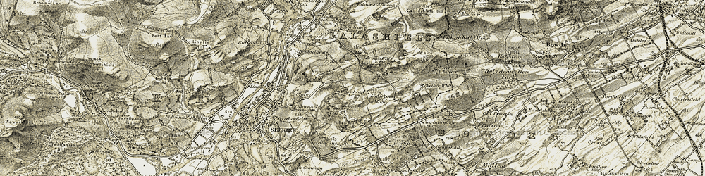 Old map of Whitlaw Mosses National Nature Reserve in 1904
