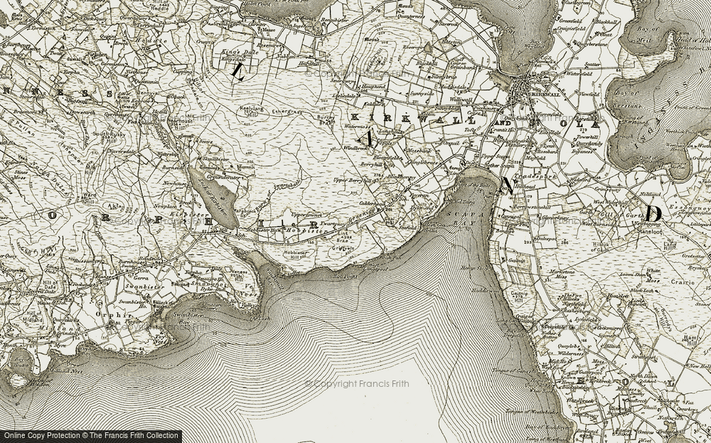 Old Map of Historic Map covering Lint Brae in 1911-1912