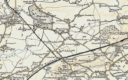 Old map of Greenman's Lane in 1898-1899