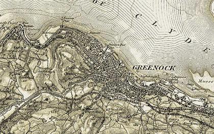 Old map of Greenock in 1905-1907