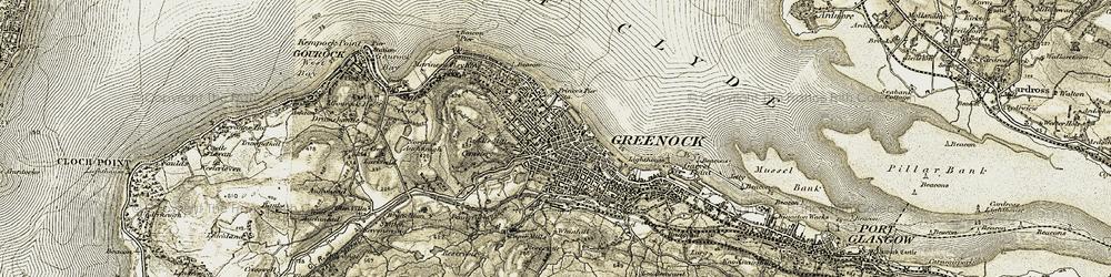 Old map of Greenock in 1905-1907