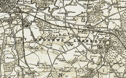 Old map of Wester Coxton in 1910-1911