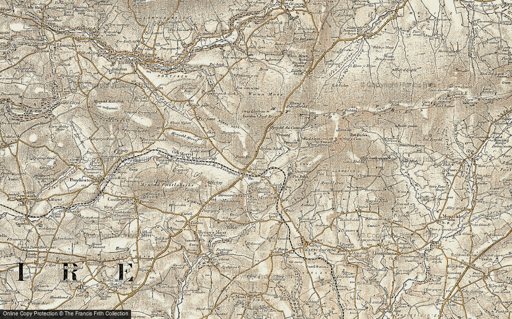 Old Map of Historic Map covering Banc Du in 1901-1912