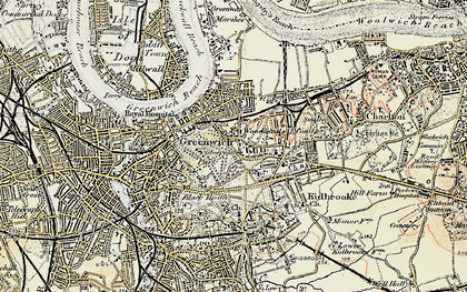 Old map of Greenwich in 1897-1902