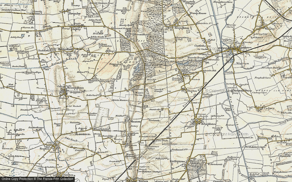 Old Map of Historic Map covering Aldham Plantn in 1903-1908