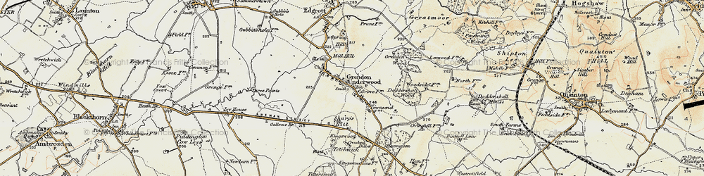 Old map of Grendon Underwood in 1898-1899