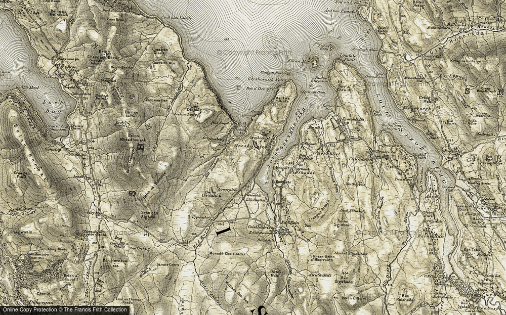 Old Map of Historic Map covering Allt Diubaig in 1909
