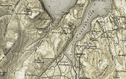 Old map of Allt Diubaig in 1909