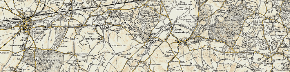 Old map of Greywell in 1898-1909