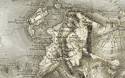 Old map of Allt Chreaga Dubha in 1906-1908