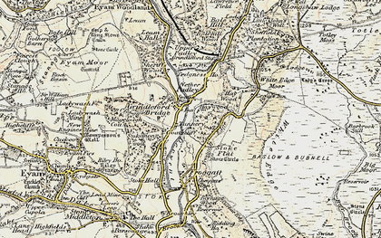 Old map of Grindleford in 1902-1903