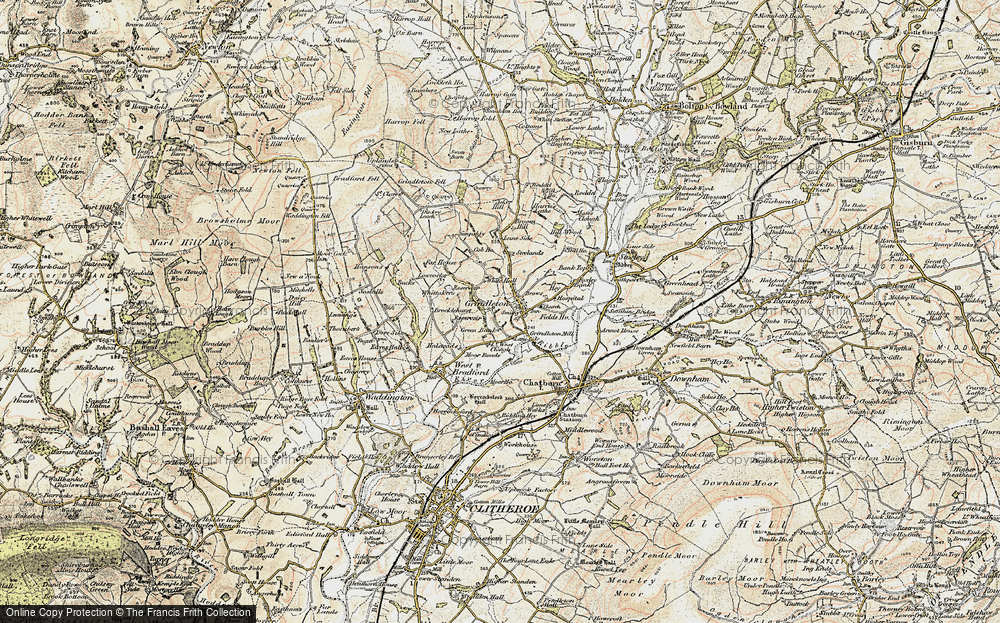 Old Map of Historic Map covering Asker Hill in 1903-1904