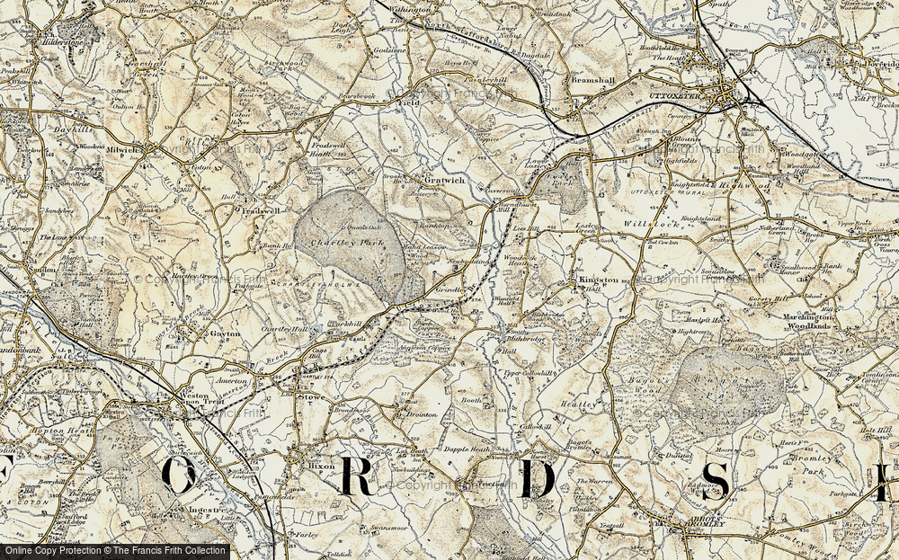 Old Map of Historic Map covering Leese Hill in 1902