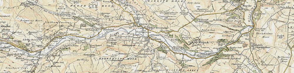 Old map of Grinton in 1903-1904
