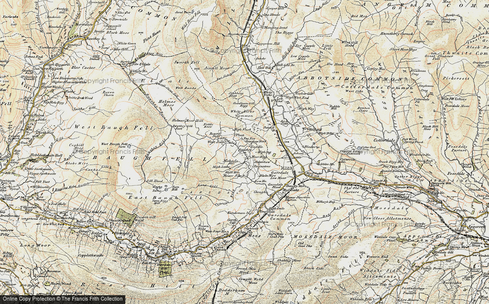 Old Map of Historic Map covering Aisgill Moor Cotts in 1903-1904