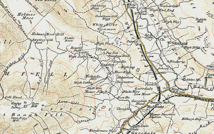 Old map of Aisgill Moor Cotts in 1903-1904