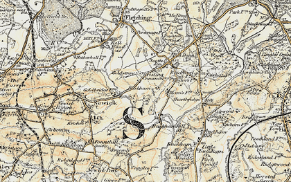 Old map of Barkham Manor Vineyard in 1898