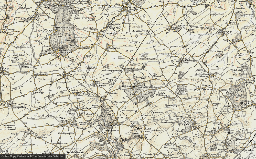 Old Map of Grittleton, 1898-1899 in 1898-1899