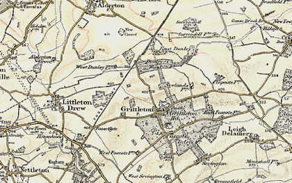 Old map of Grittleton in 1898-1899