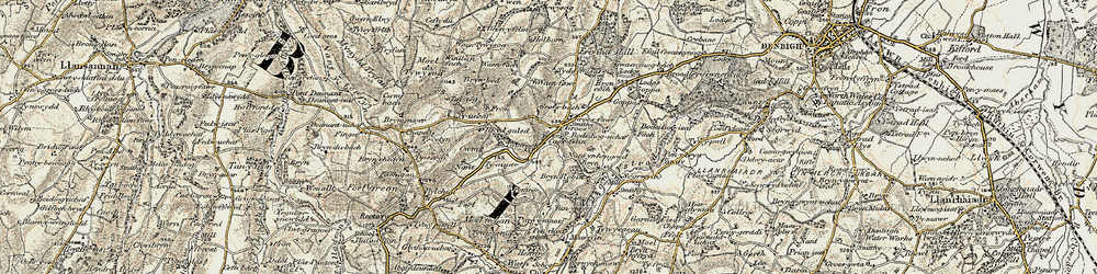 Old map of Afon Ystrad in 1902-1903