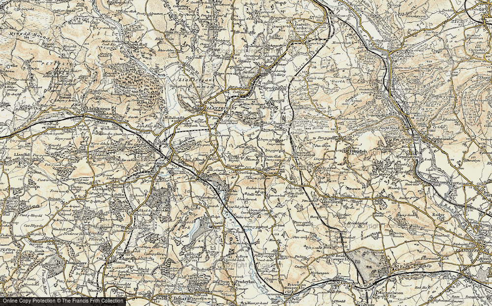 Old Map of Historic Map covering Mwyndy in 1899-1900
