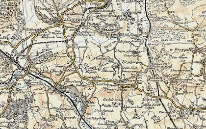 Old map of Groes-faen in 1899-1900