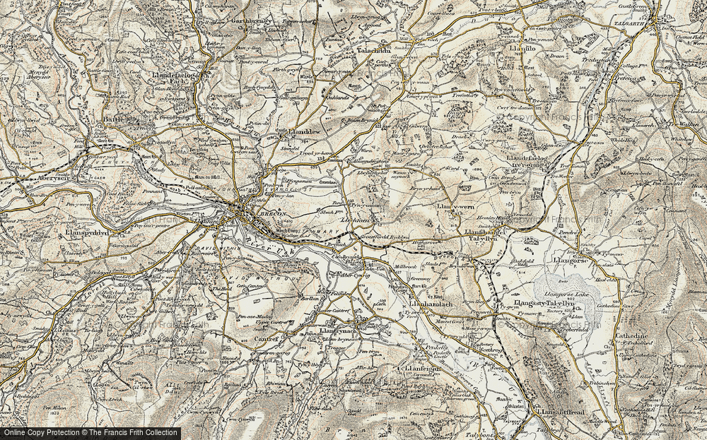 Old Map of Historic Map covering Abercynrig in 1900-1901