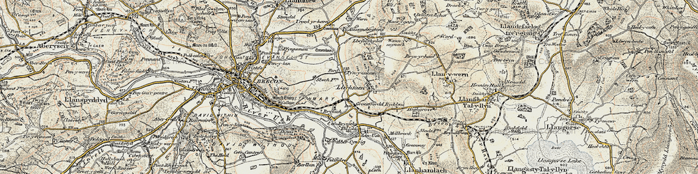 Old map of Abercynrig in 1900-1901
