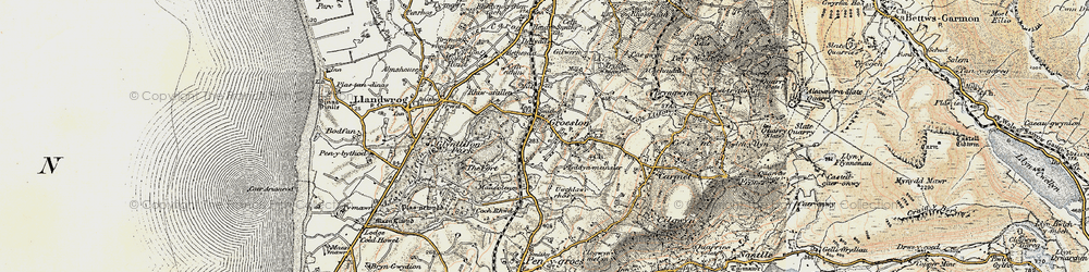 Old map of Groeslon in 1903-1910