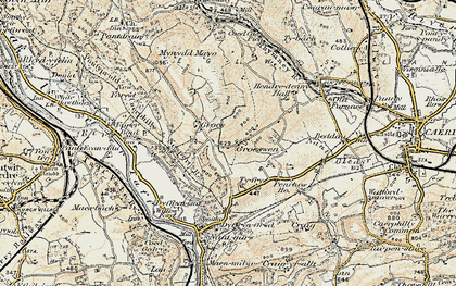 Old map of Groeswen in 1899-1900