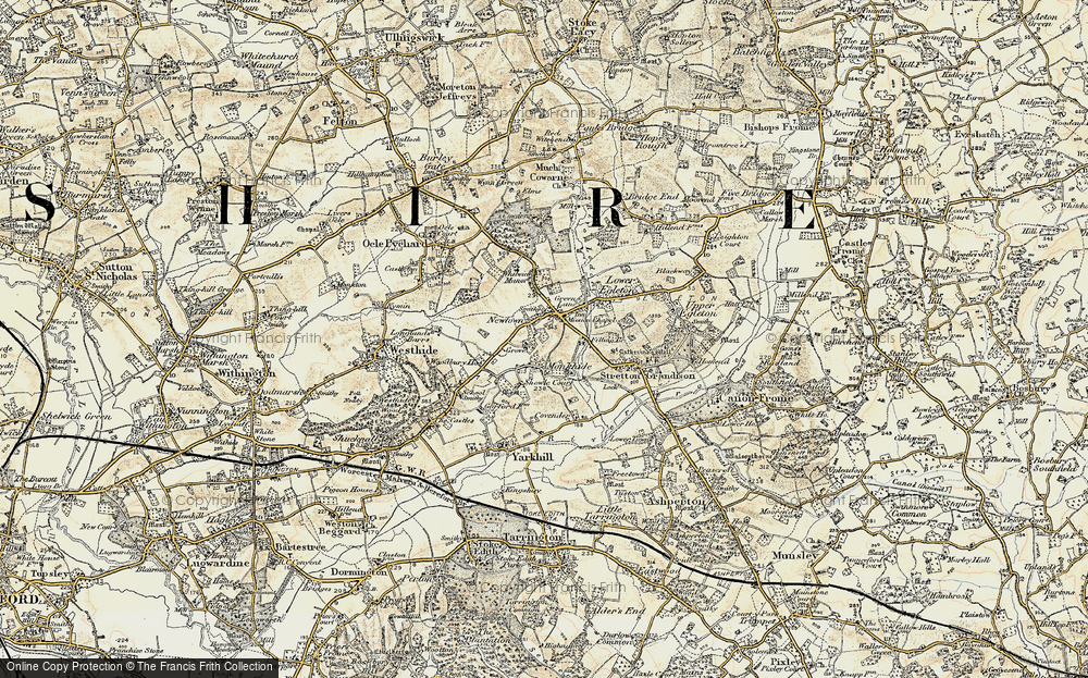 Old Map of Historic Map covering Woodbury in 1899-1901