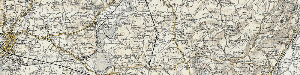 Old map of Grovesend in 1900-1901