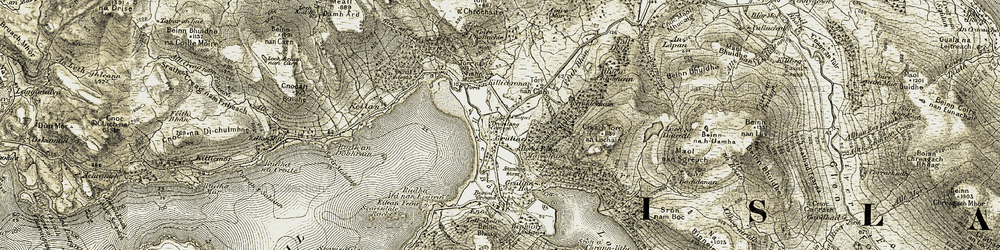 Old map of Tom a' Chrochaire in 1906-1908