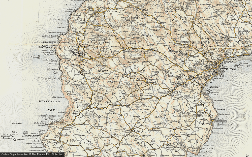 Old Map of Historic Map covering Leswidden in 1900