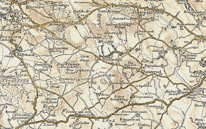 Old map of Grumbla in 1900