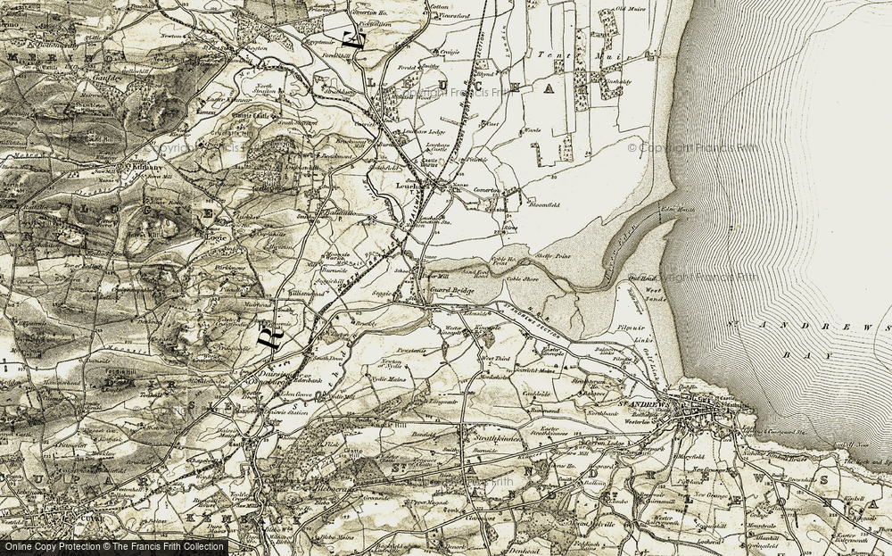 Old Map of Historic Map covering Leuchars Airfield in 1906-1908