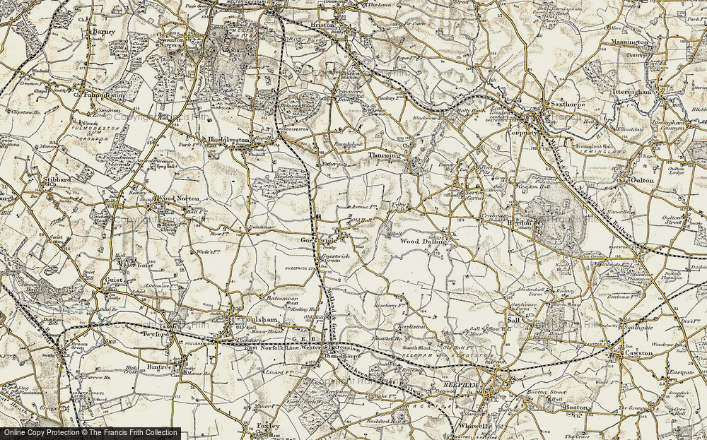 Old Map of Historic Map covering Wood Dalling Hall in 1901-1902