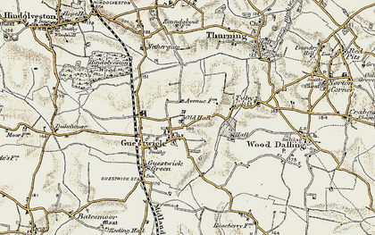 Old map of Wood Dalling Hall in 1901-1902
