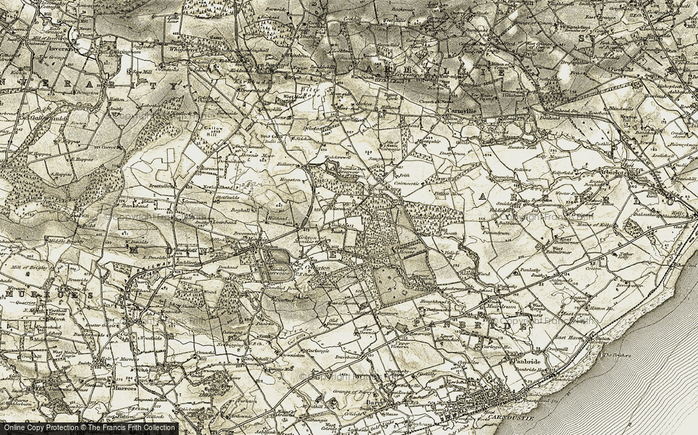 Old Map of Historic Map covering Ashbank in 1907-1908