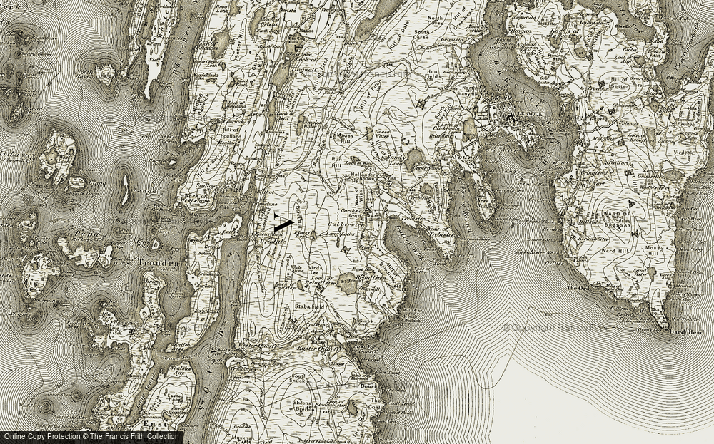 Old Map of Historic Map covering Lang Lochs in 1911-1912