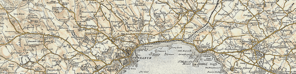 Old map of Gulval in 1900