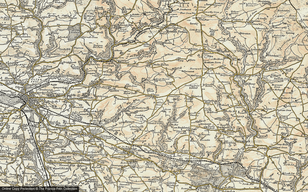 Old Map of Historic Map covering Whitsford in 1900