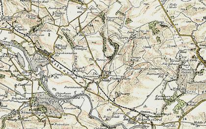 Old map of Gunnerton in 1901-1903