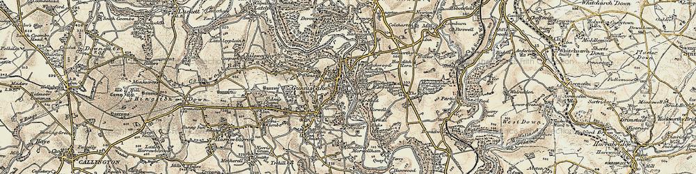 Old map of Gunnislake in 1899-1900