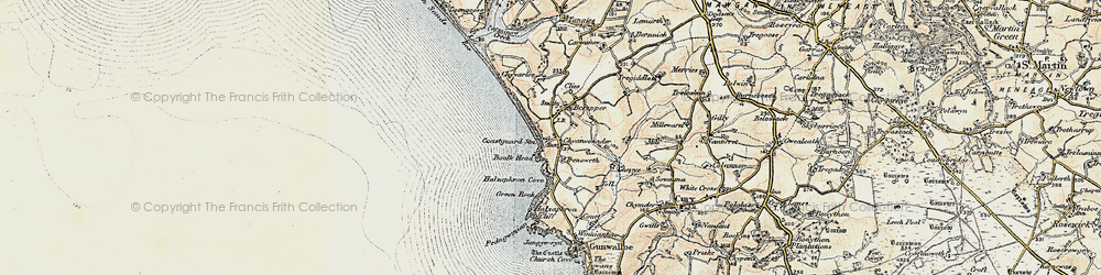 Old map of Gunwalloe in 1900