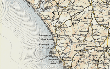 Old map of Gunwalloe Fishing Cove in 1900