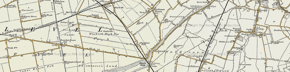 Old map of Wisbech High Fen in 1901-1902